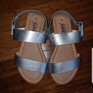 EUC FabKids Silver Sandals sz 12